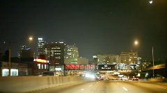 Night drive in LA on Hollywood 101 freeway. - stock footage