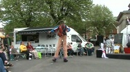 Stock Video Footage of dancing stilt walker