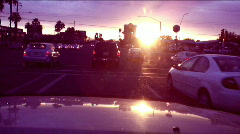 Evening sunset glare - driving - 2   - stock footage