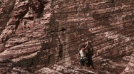 Stock Video Footage of Woman mountain climbing at Red Rock Canyon