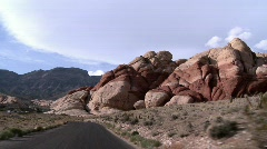 Car mouvement at the Red Rock Canyon Stock Footage