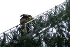 Firefighter on a Firetruck Ladder - stock footage