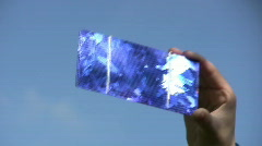 Solar cell in child hand Stock Footage