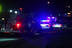 Firetruck and Police Cars at a Car Accident Stock Footage