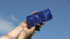 Solar cell in child hands Stock Footage