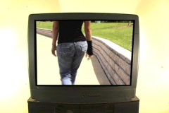 Beautiful Blonde on Television-2 - stock footage