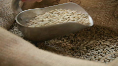 Scooping raw coffee Stock Footage