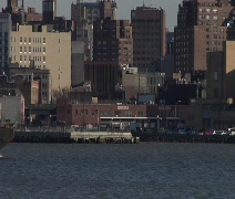 NYC Subway Cars on Barge 01 Stock Footage