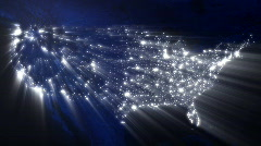 USA at Night with Ray of Lights (Loop) - stock footage