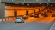 Cars move in tunnel Stock Footage