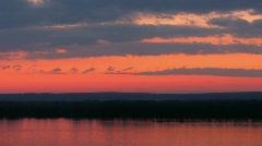 Sundown on Volga river. Time lapse Stock Footage