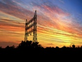 Stock Video Footage of Power pylons at sunset