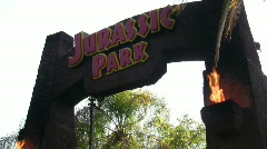 Jurrasic Park Entrance Universal Studios Stock Footage
