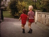 Stock Video Footage of brothers walking in the park vintage
