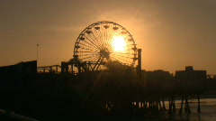 Pacific Park Pier Ferris Wheel spinnig Stock Footage