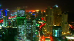 Tilt-Shift effect Night shot Dubai - stock footage