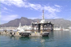 Cape Town harbour with drill rig Stock Footage