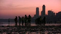 Chowpatty Beach Mumbai (Bombay) at Twilight Stock Footage