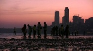 Stock Video Footage of Chowpatty Beach Mumbai (Bombay) at Twilight