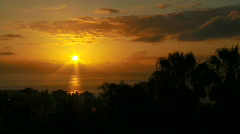 Sunset over ocean with town and palm trees in foreground. - stock footage