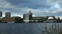 Museum of Science from Charles River Boston Stock Footage