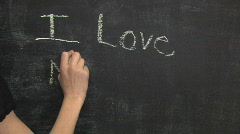 Child Writes I Love Mommy on Chalkboard for Mother's Day Stock Footage
