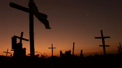 Scary Graveyard with Sunset Stock Footage