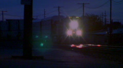 Night freight train coming in - with sound Stock Footage