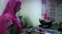 Indian Woman Cooking Stock Footage