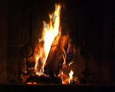 fire burning in the fireplace Stock Footage