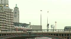 London Tube Train Crosses Bridge, Southbank Stock Footage
