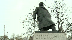 Statue of Winston Churchill, Parliament Square, London - stock footage