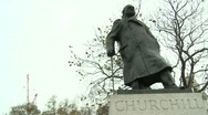 Stock Video Footage of Statue of Winston Churchill, Parliament Square, London