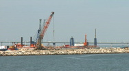 Stock Video Footage of Port in construction time lapse