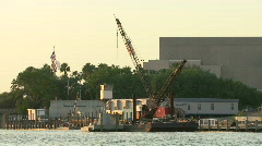 Stock Video Footage of Construction Crane On The Riverside