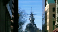 Battleship in the city Stock Footage