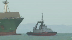 Container ship side on in swell Stock Footage