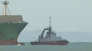 Stock Video Footage of container ship side on in swell