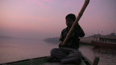Ganges River Boat at Dawn Stock Footage