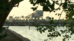 Railroad Drawbridge ViewThru Tree Branches Stock Footage