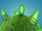 Closeup of 3d cartoon green planet with alpha mate, loopable ntsc Stock Footage