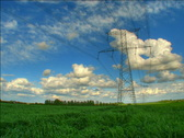 Clouds over pylons hdr time lapse Stock Footage