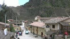Ollantaytambo Peru Ruins and City Stock Footage
