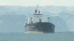 Oil tanker turns Stock Footage