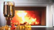 Wine and fireplace 2-1 Stock Footage