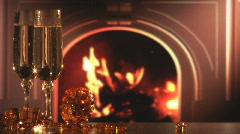 Wine and fireplace 3-1 Stock Footage