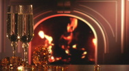 Stock Video Footage of Wine and fireplace 3-1