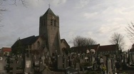 Church cemetery Adinkerke Belgium Stock Footage