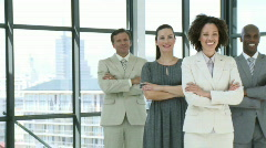 Businessteam with folden arms standing multi-ethnic Stock Footage