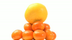 Pyramid of tangarines Stock Footage